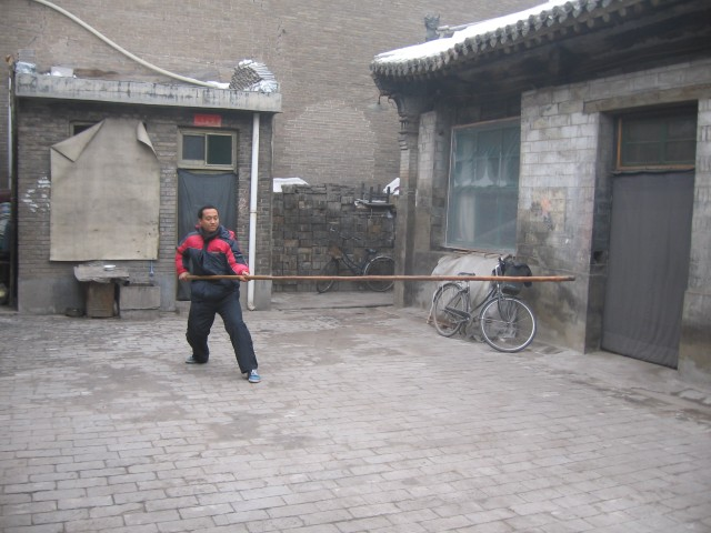 M Song's disciple Sun Qian demonstrating pole shaking