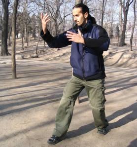 Nitzan holding a Zhan Zhuang posture